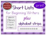 Writing Practice - Short, Classified Lists