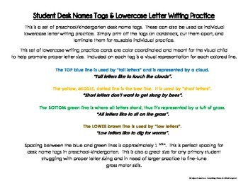 Writing Practice for Proper Primary Spacing and Letter Formation