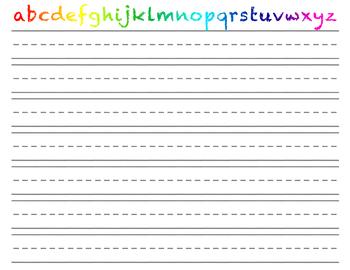 Writing Practice worksheet | Lowercase alphabet rainbow heading | free