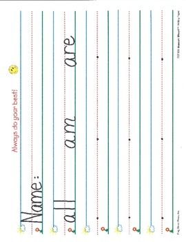 Writing: Pre-Primer Sight Words