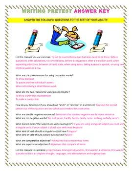 Writing Pretest Answer Key