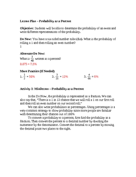 Writing Probability as a Percentage Lesson Plan
