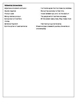 Writing Problem and Illustration Chart