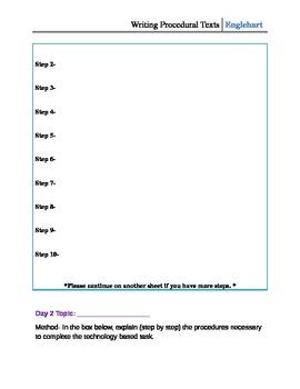 Writing Procedural Texts: Student Technology Skills