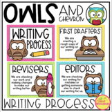 Writing Process Clip Chart {Chevron and Owls Classroom Decor Theme}
