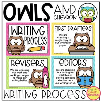 Writing Process Clip Chart {Chevron and Owls Classroom Decor Theme}
