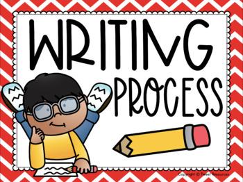 Writing Process Clip Chart {Primary Colors Chevron Classroom Decor Theme}