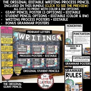 Writing Process Poster Bundle Writing Process Pencil- Writing Process Clip Chart