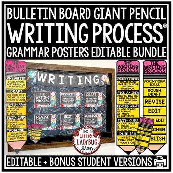 Writing Process Poster Bundle- Bulletin Board Writing Process Pencil Clip Chart