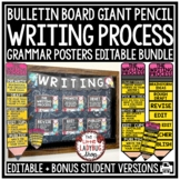 Editable Writing Process Poster, Pencil Clip Chart Back to School Bulletin Board