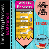 Writing Process BIG Pencil Banner Bulletin Board Poster 2 Sizes