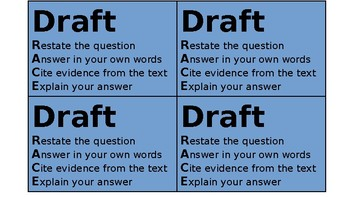 Writing Process Cards for Text Dependent Questions