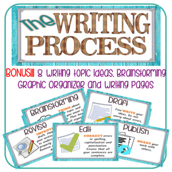 Writing Process Chart with Writing Ideas and Graphic Organizer/ Farmhouse Style