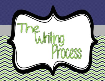 Writing Process Chart Signs Navy, Green, Gray