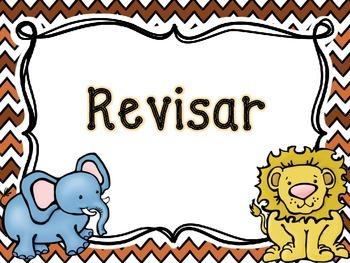 Writing Process Chart *Spanish Version - Animal Theme*