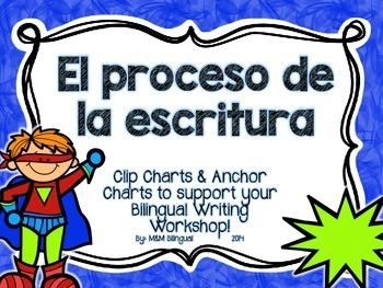 Writing Process Chart *Spanish Version - Superhero Theme*