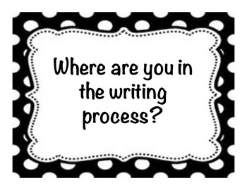 Writing Process Charts Black and White Polka Dot