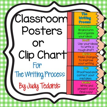 Writing Process Classroom Posters or Clip Chart