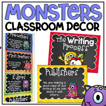 Writing Process Clip Chart {Monsters Classroom Decor Theme}