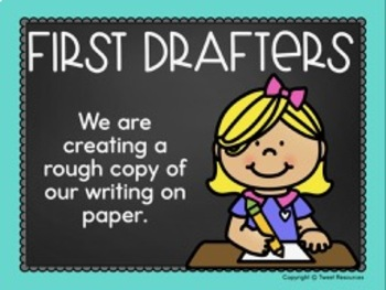 Writing Process Clip Chart {Teal and Chalkboard Classroom Decor Theme}
