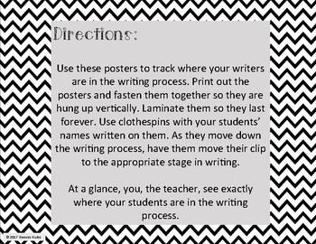 Writing Process Clip Chart - Black and White Theme
