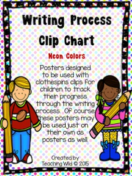 Writing Process Clip Chart Tracker (neon colors)