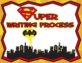 Writing Process Clip Chart and Anchor Chart - Superhero Theme