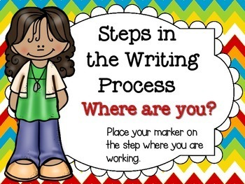 Writing Process Clip Chart for Big Kids Bright Tweens Theme