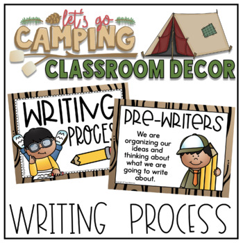 Writing Process Clip Chart in a Camping Classroom Decor Theme