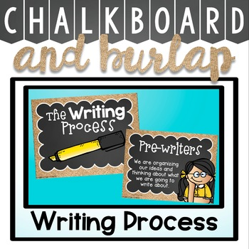 Writing Process Clip Chart in a Chalkboard and Burlap Classroom Decor Theme