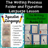 Writing Process Folder and Figurative Language Lesson Bundle Grades 3-5