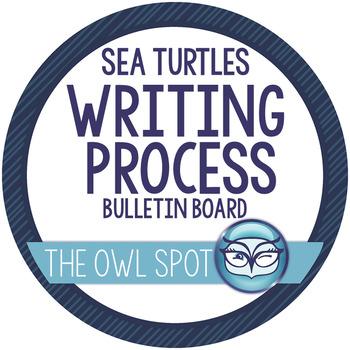 Writing Process Interactive Bulletin Board Set - Turtle Themed