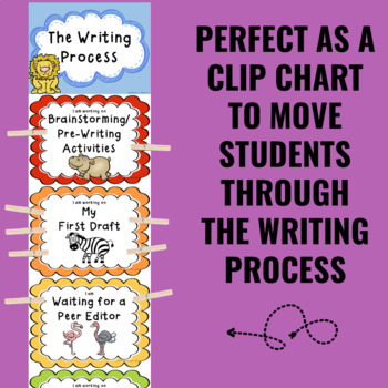 Writing Process Clip Chart - African Animal Theme