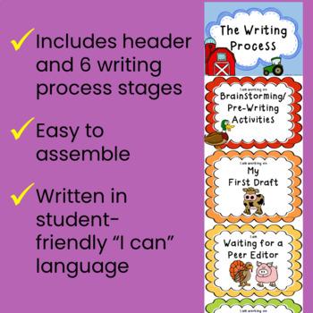 Writing Process Clip Chart - Farm Theme