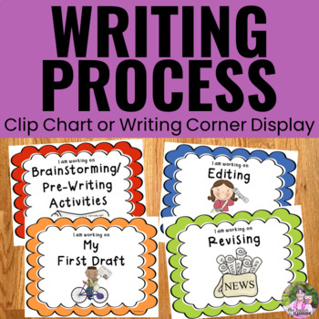 Writing Process Clip Chart - Newspaper Kids Theme