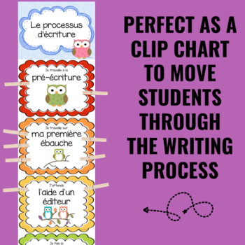 Writing Process Clip Chart ~FRENCH~ Owl Theme