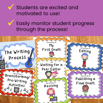 Writing Process Clip Chart Posters - Rockstar Theme