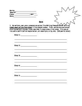 Writing Process/Paragraph Quiz