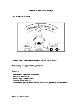 School Year Writing Plan: Narrative Prompts and Planning Organizers Grades 2-5