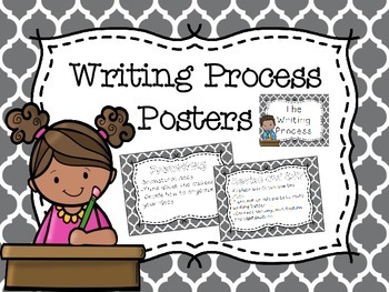 Writing Process Poster - Clip Chart - Gray Moroccan Background