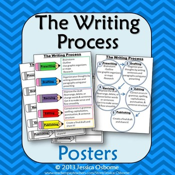 Writing Process Posters: 2 Versions & Student Notes (plus fill-in-the-blank)