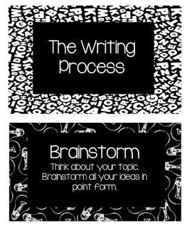 Writing Process Posters: Black and White