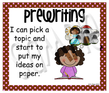 Stick Figure Writing Process Posters - Chocolate Brown with Pink Polka Dots
