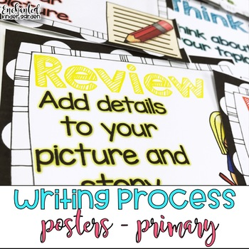 Writing Process Posters BW Polka Dot - Primary