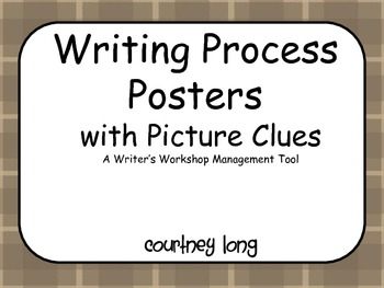 Writing Process Posters and Management with Picture Clues - Plaid