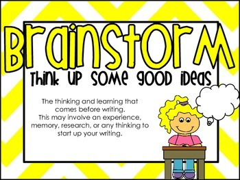 Writing Process Posters and Student Labels - Yellow Chevron