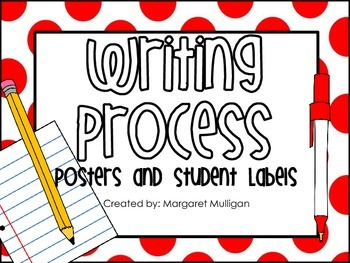 Writing Process Posters and Student Labels - Red Polka Dots