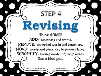 Writing Process Posters for the Classroom: Black & White Polka Dot Theme