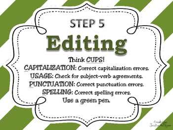 Writing Process Posters for the Classroom: Stripe Theme