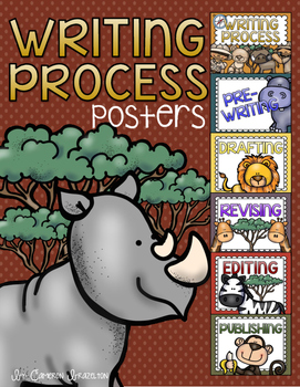Writing Process Posters or Clip Chart Jungle Safari Theme